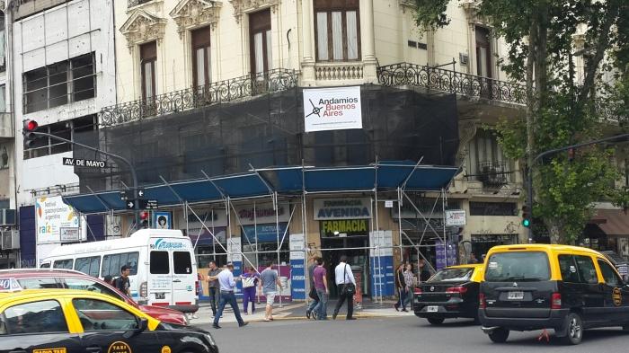 Estructura para refacción de fachada en Av. de Mayo y Lima (C.A.B.A)